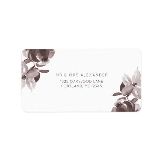 Etiqueta de devolución floral del boda del ciruelo