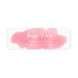 Etiqueta de devolución rosada de la acuarela