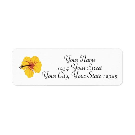 Etiqueta de dirección amarilla del hibisco