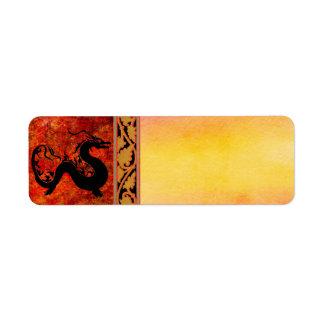Etiqueta de dirección asiática del dragón