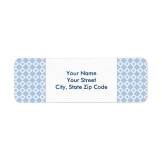 Etiqueta de dirección azul clara y blanca del