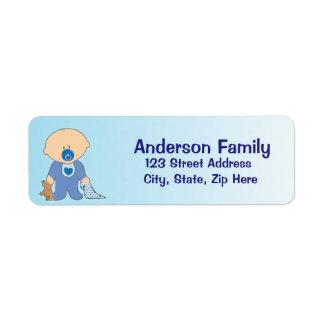 Etiqueta de dirección azul de Blankie del bebé