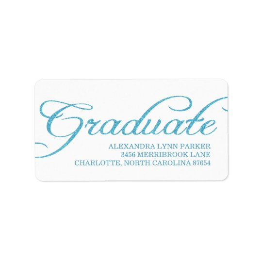 Etiqueta de dirección azul de la graduación del