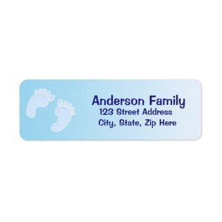 Etiqueta de dirección azul de la huella del bebé