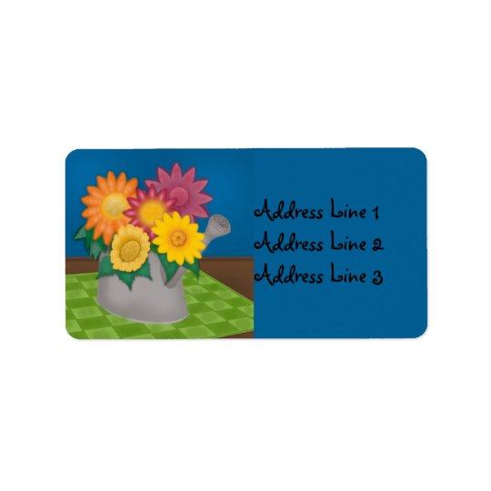 Etiqueta de dirección azul de la regadera colorida