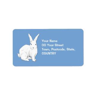 Etiqueta de dirección azul del conejo