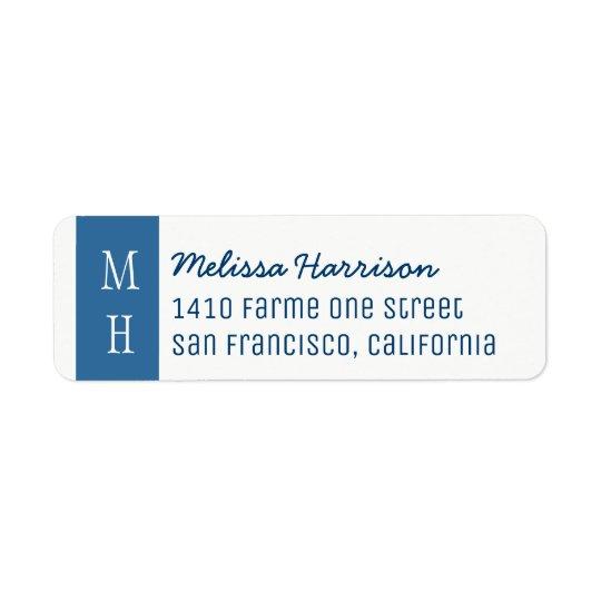 etiqueta de dirección azul moderna con nombre de