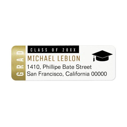 etiqueta de dirección blanca de los graduados