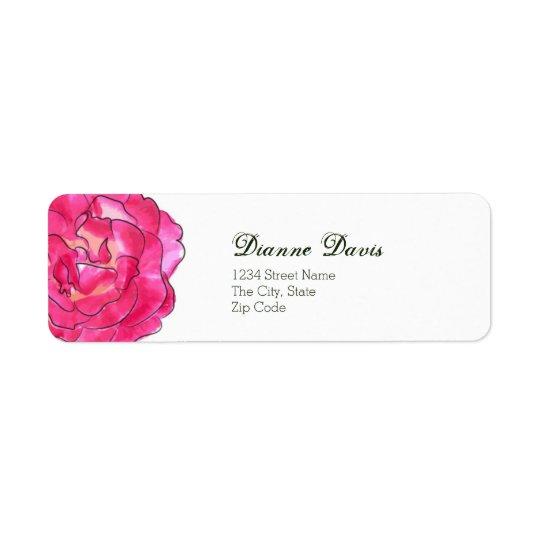 Etiqueta de dirección color de rosa de la