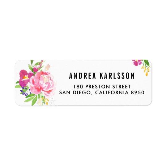 Etiqueta de dirección colorida de las floraciones