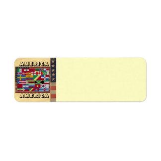 Etiqueta de dirección de AMÉRICA AMÉRICA