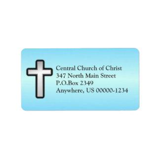 Etiqueta de dirección de encargo cruzada cristiana