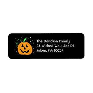 Etiqueta de dirección de la calabaza de Halloween