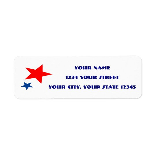 Etiqueta de dirección de la estrella roja y azul