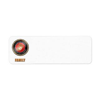 Etiqueta de dirección de la familia del USMC