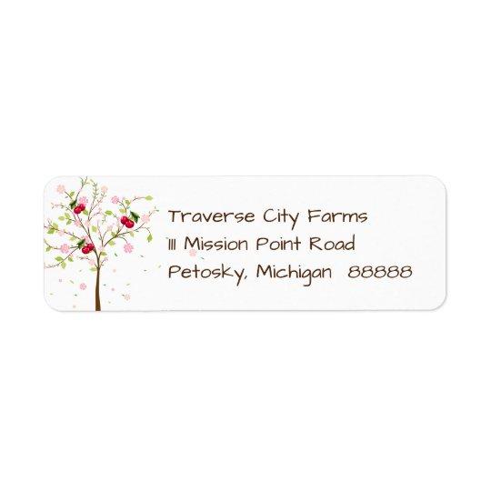 Etiqueta de dirección de la granja de la cereza