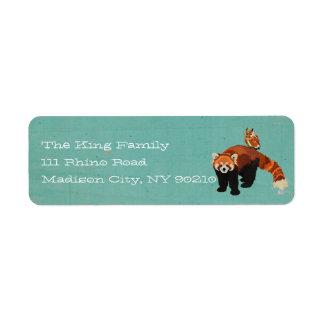 Etiqueta de dirección de la panda roja y del búho