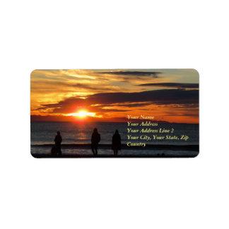 Etiqueta de dirección de la puesta del sol de la