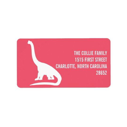 Etiqueta de dirección de la silueta del dinosaurio