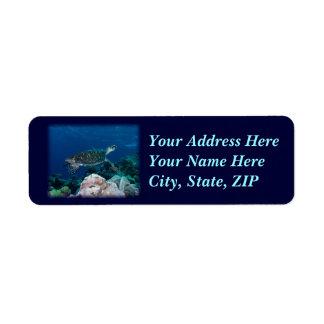 Etiqueta de dirección de la tortuga de mar