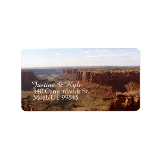 Etiqueta de dirección de los pares de Canyonlands