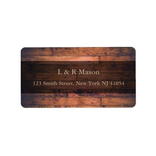 Etiqueta de dirección de madera de la bandera