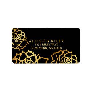 Etiqueta de dirección de oro de los rosas - negro