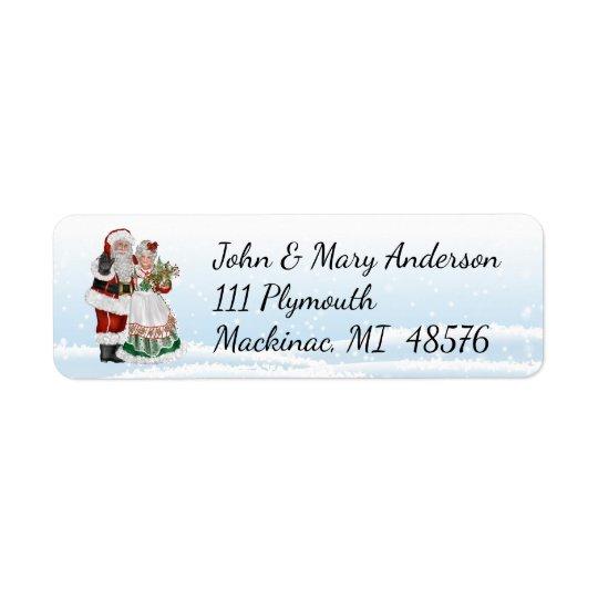 Etiqueta de dirección de Santa y de señora Claus
