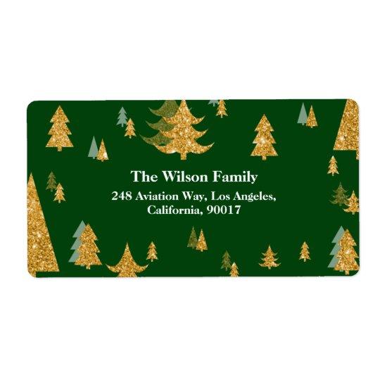 Etiqueta de dirección del árbol de navidad del oro