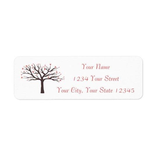 Etiqueta de dirección del árbol del corazón