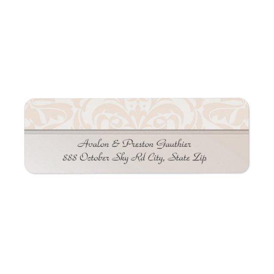Etiqueta de dirección del boda del damasco del