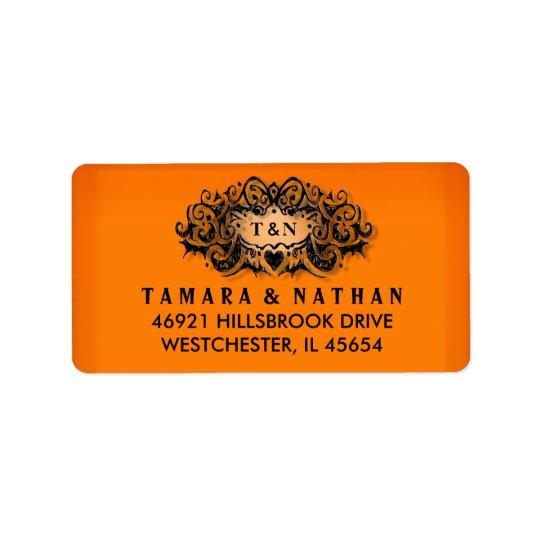 Etiqueta de dirección del boda del naranja y del
