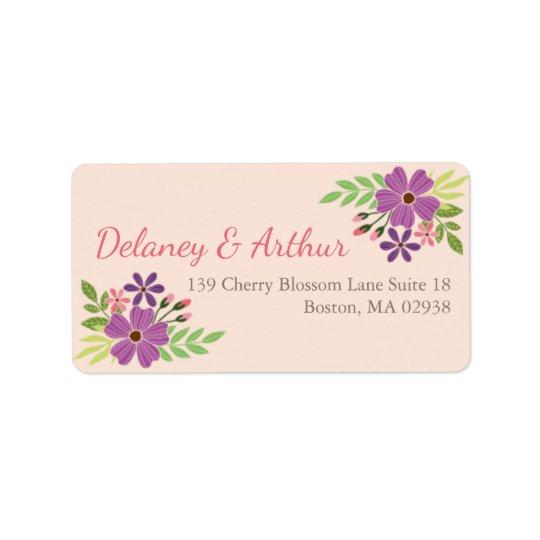 Etiqueta de dirección del boda en tema de la flor