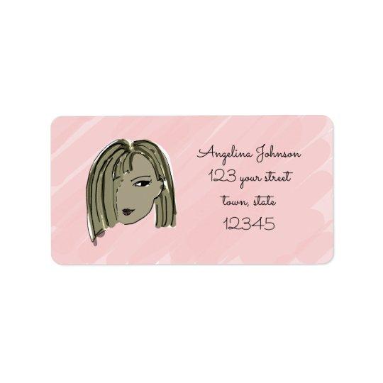Etiqueta de dirección del chica del pelo oscuro