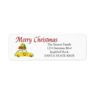 Etiqueta de dirección del coche de las Felices