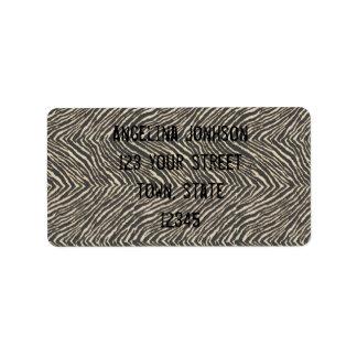 Etiqueta de dirección del estampado de zebra