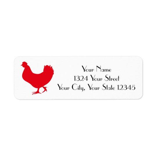 Etiqueta de dirección del gallo