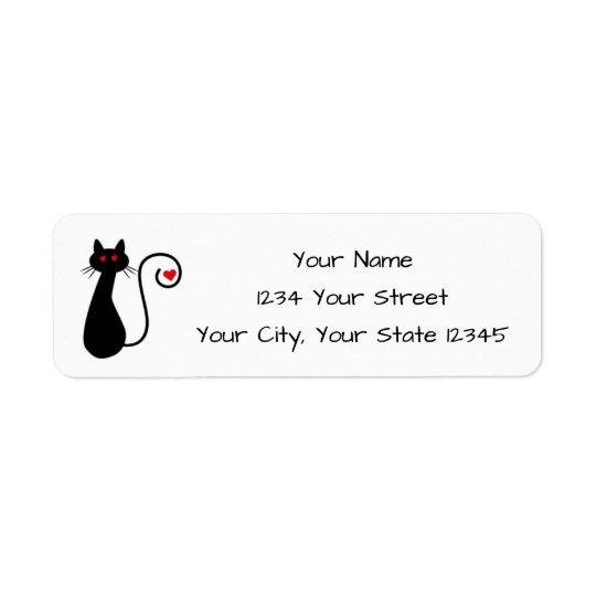 Etiqueta de dirección del gato del amor