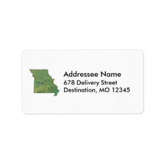 Etiqueta de dirección del mapa de Missouri