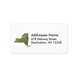 Etiqueta de dirección del mapa de Nueva York