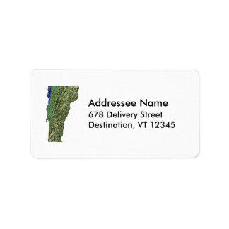Etiqueta de dirección del mapa de Vermont