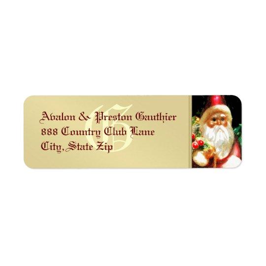 Etiqueta de dirección del metal del oro de Santa