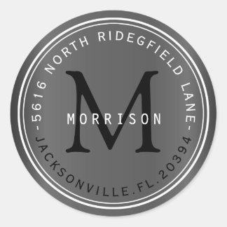 Etiqueta de dirección del monograma en gris