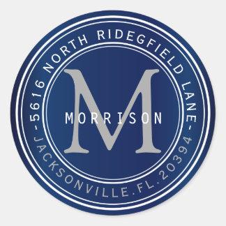 Etiqueta de dirección del monograma en los azules