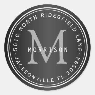 Etiqueta de dirección del monograma en negro