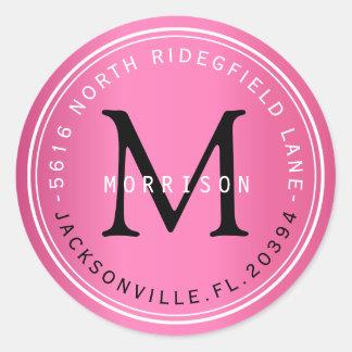 Etiqueta de dirección del monograma en rosa