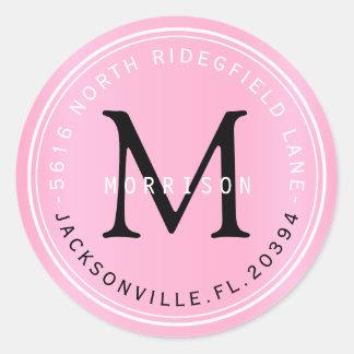 Etiqueta de dirección del monograma en rosas bebés