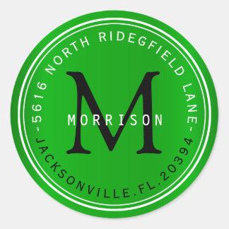 Etiqueta de dirección del monograma en verde lima