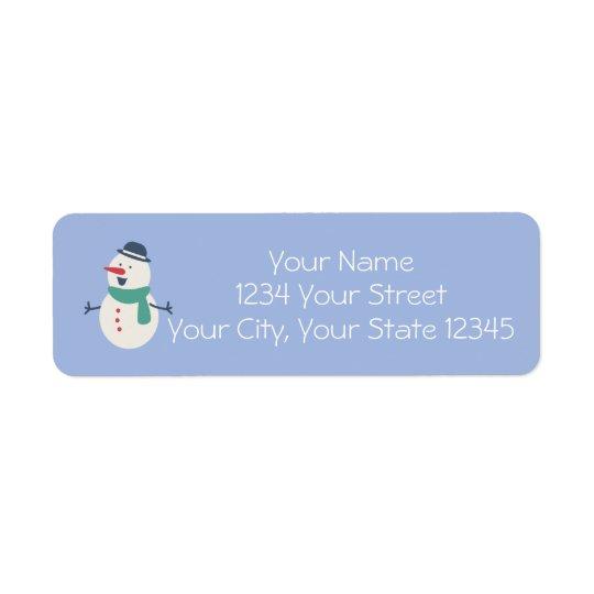 Etiqueta de dirección del muñeco de nieve