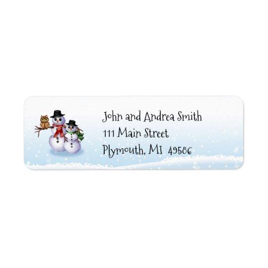 Etiqueta de dirección del muñeco de nieve y del